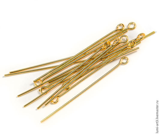 Для украшений ручной работы. Ярмарка Мастеров - ручная работа. Купить Пины с петлей 38 мм золотые 10 шт (позолоченная латунь). Handmade.