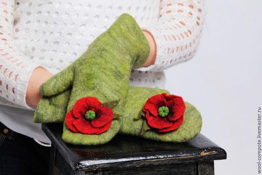 """Варежки, митенки, перчатки ручной работы. Ярмарка Мастеров - ручная работа. Купить Варежки """"Лето в руках"""". Handmade. Зеленый"""
