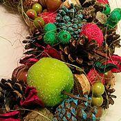 Подарки к праздникам ручной работы. Ярмарка Мастеров - ручная работа Рождественский венок (в сине-зеленом). Handmade.