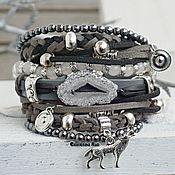 Украшения handmade. Livemaster - original item BOHO-chic grey leather bracelet