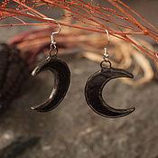 Украшения handmade. Livemaster - original item Moon Earrings Black (e-003-06). Handmade.