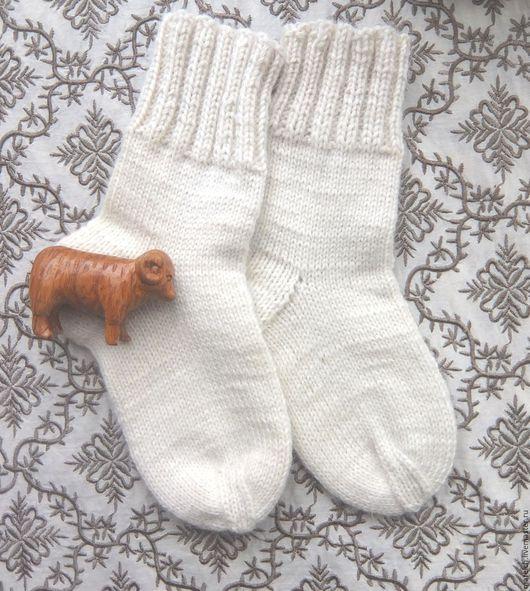 Носки, Чулки ручной работы. Ярмарка Мастеров - ручная работа. Купить Детские шерстяные вязанные носочки с добавлением козьего пуха. Handmade.