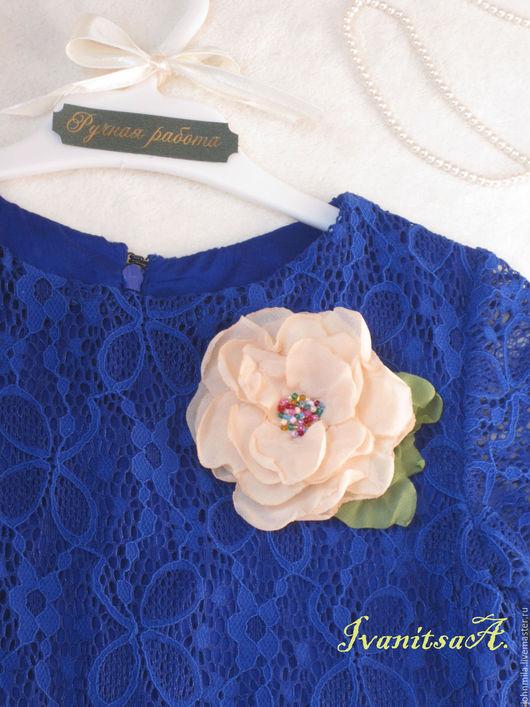 Одежда для девочек, ручной работы. Ярмарка Мастеров - ручная работа. Купить Синее  платье. Handmade. Синий, брошь цветок