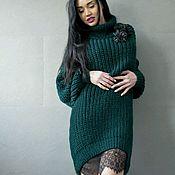 Одежда ручной работы. Ярмарка Мастеров - ручная работа Комплект Изумруд свитер и платье комбинация. Handmade.