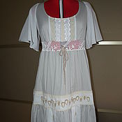 Одежда ручной работы. Ярмарка Мастеров - ручная работа Платье р.48-50 серое в полоску. Handmade.