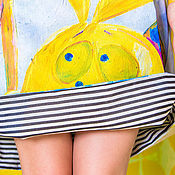 Одежда ручной работы. Ярмарка Мастеров - ручная работа Юбец-миди «Зайцы и искусство». Handmade.