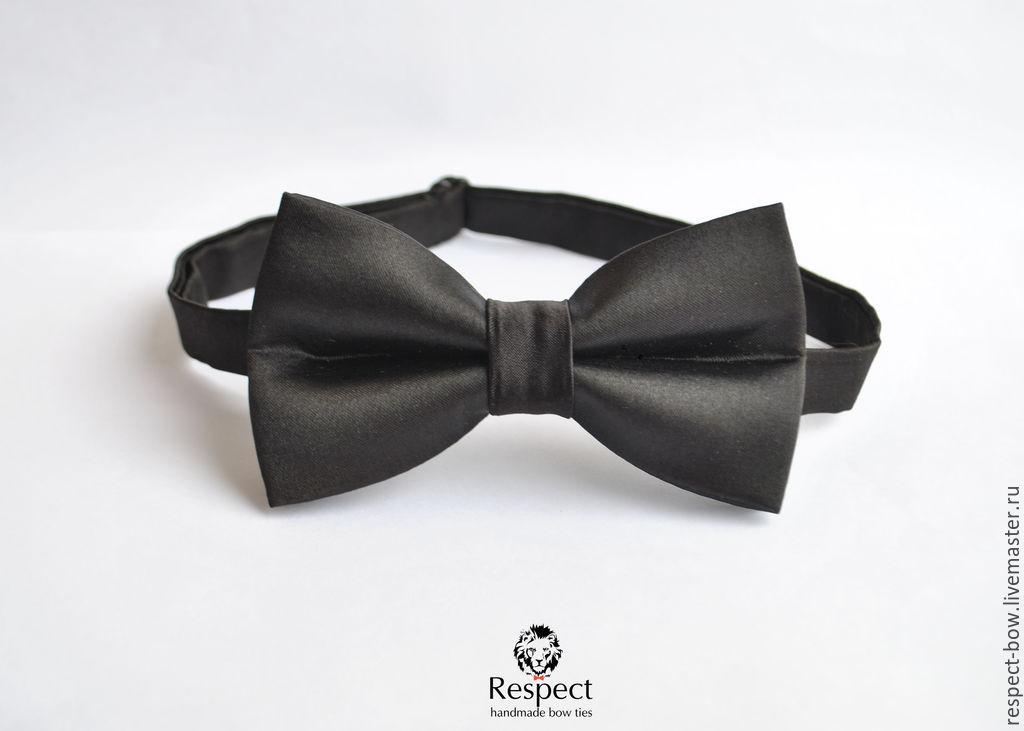 Tie Black teardrop / satin classic bow tie, Ties, Moscow,  Фото №1
