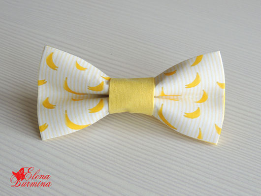Галстуки, бабочки ручной работы. Ярмарка Мастеров - ручная работа. Купить Бабочка галстук банановая, хлопок. Handmade. Желтый, рисунок