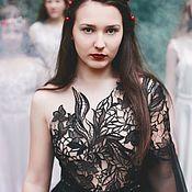 Одежда ручной работы. Ярмарка Мастеров - ручная работа Модный тренд: платье на одно плечо, из кружева и шифона. Handmade.