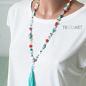 Украшения handmade. Livemaster - original item Long bead necklace with brush in a marine style. Handmade.