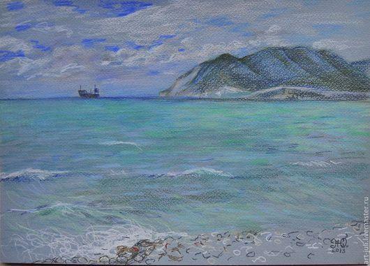 """Пейзаж ручной работы. Ярмарка Мастеров - ручная работа. Купить рисунок """"недалёкие берега"""". Handmade. Черное море, волна, вода"""