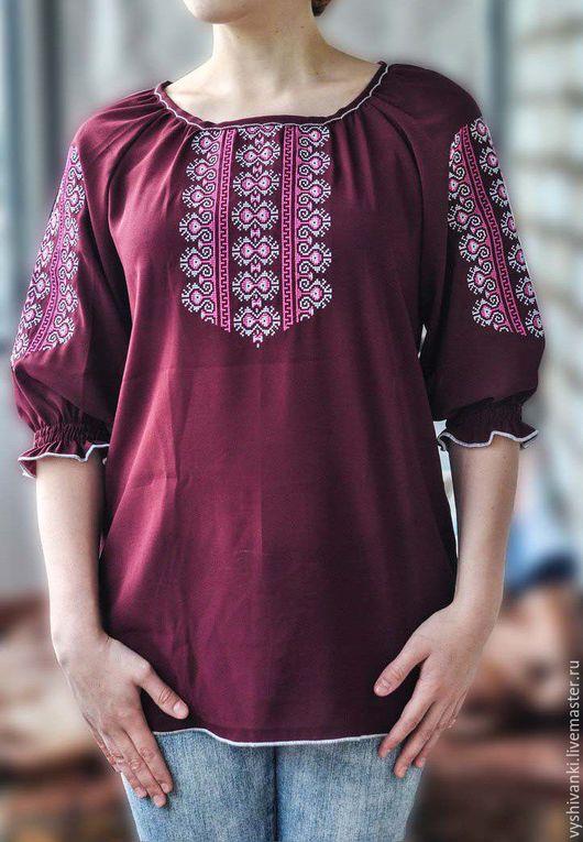 Этническая одежда ручной работы. Ярмарка Мастеров - ручная работа. Купить Легкая женская вышитая блузка на шифоне. Handmade. Бордовый