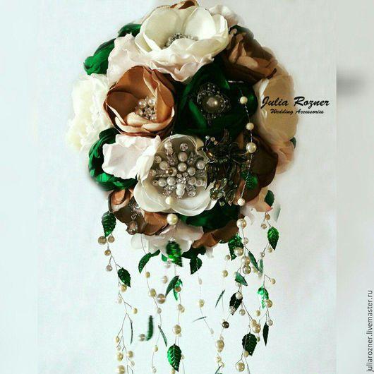 Свадебные цветы ручной работы. Ярмарка Мастеров - ручная работа. Купить Каскадный Свадебный брошь букет невесты. букет невесты в форме капли.. Handmade.