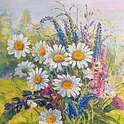 Картины и панно handmade. Livemaster - original item Bouquet with daisies. The flowers of the field.Oil painting, canvas on cardboard.. Handmade.
