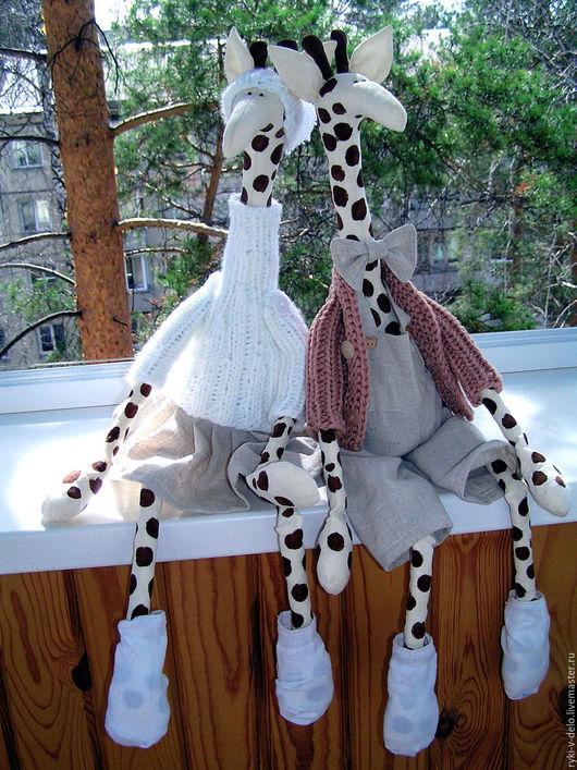 Игрушки животные, ручной работы. Ярмарка Мастеров - ручная работа. Купить Жирафья  пара. Handmade. Жираф, тильда жираф