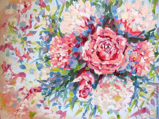 Авторская картина `Цветы для любимой..` Катерины Аксеновой.картина букет цветов,картина цветы букет,картины букет с розами,букет картина,картины цветы,картины натюрморты,красивый букет картина