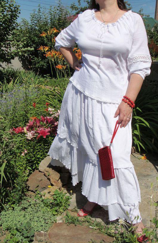 Юбки ручной работы. Ярмарка Мастеров - ручная работа. Купить Летняя юбка, блуза. Handmade. Юбка блуза белый