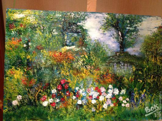 Пейзаж ручной работы. Ярмарка Мастеров - ручная работа. Купить Мой сад.Современная живопись.. Handmade. Картина для интерьера