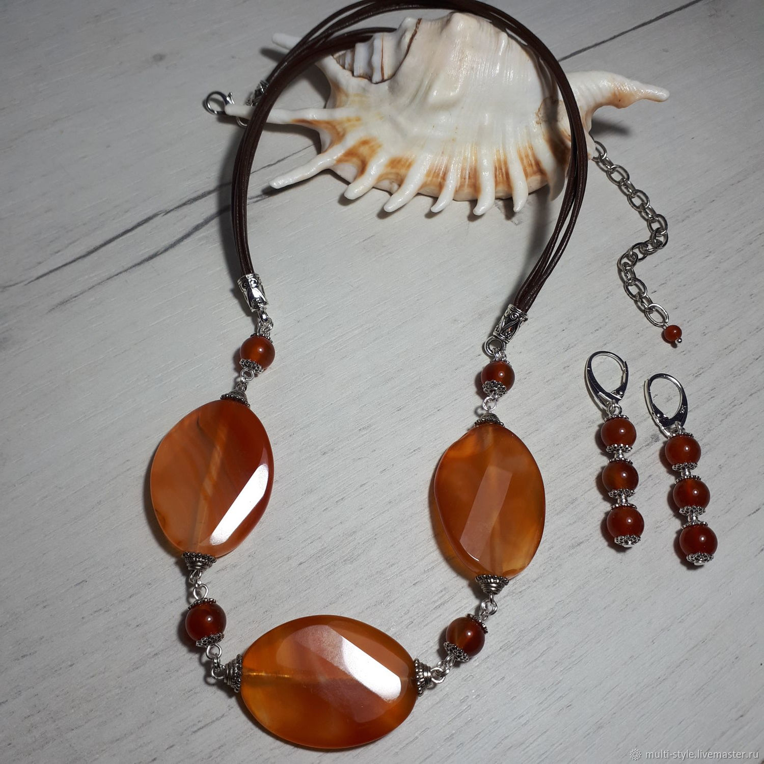 Necklace and earrings with agate and carnelian 'Summer time', Jewelry Sets, St. Petersburg,  Фото №1