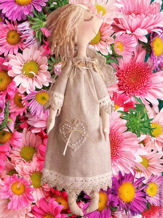 Куклы тыквоголовки ручной работы. Ярмарка Мастеров - ручная работа. Купить льняной ангел. Handmade. Серый, ангел тильда, лен