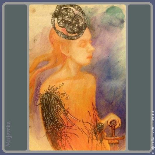 """Символизм ручной работы. Ярмарка Мастеров - ручная работа. Купить картинка """"Афина"""". Handmade. Оранжевый, Афина, картинка, графика, рисунок"""