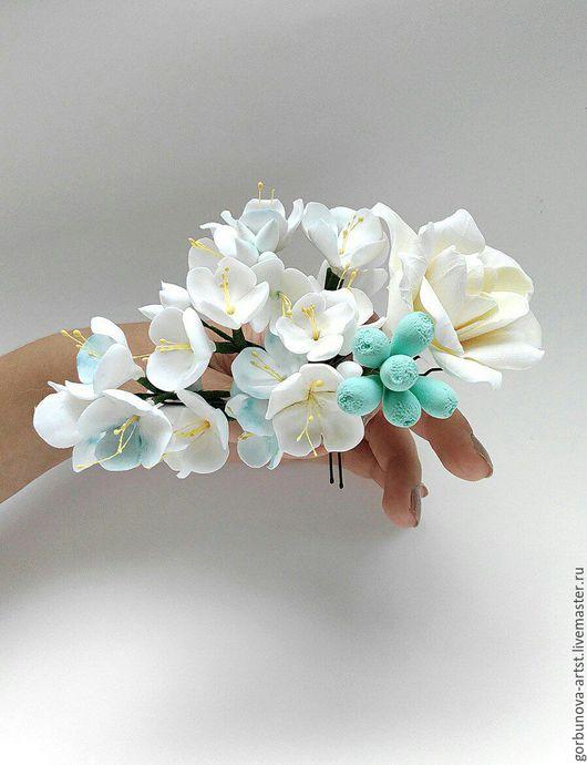 Цветы в прическу, цветы в прическу для невесты, цветы ручной работы из полимерной глины, цветы на любых заколках по запросу.