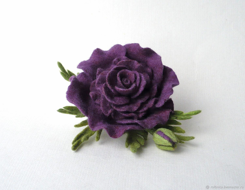 Брошь войлочная «Роза Violet» – заказать на Ярмарке Мастеров – K4NO2RU | Брошь-булавка, Набережные Челны