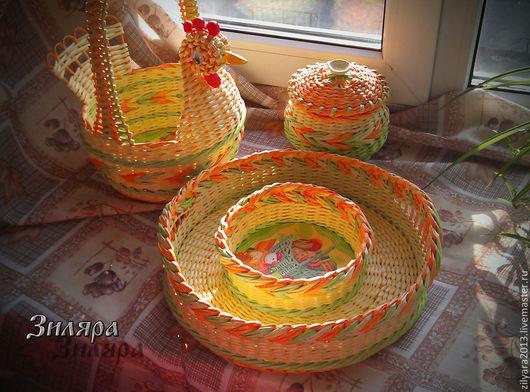 Кухня ручной работы. Ярмарка Мастеров - ручная работа. Купить Плетеный набор Светлая Пасха. Handmade. Плетение, Пасха, Кулич