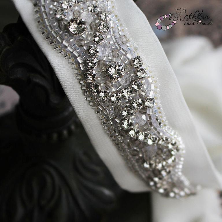 handmade. Livemaster - handmade. Buy Belt for wedding dresses Silver : bead embroidery on silk.Silver