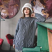 Одежда handmade. Livemaster - original item Jerseys: Women`s knitted sweater with braids of gray color. Handmade.