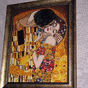 """Картины и панно ручной работы. Ярмарка Мастеров - ручная работа Вышитая картина """" Поцелуй """" по мотивам произведения Г. Климта. Handmade."""