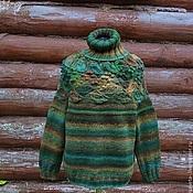 Одежда ручной работы. Ярмарка Мастеров - ручная работа Большой зеленый уличный свитер. Handmade.