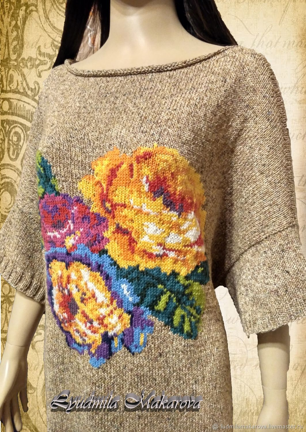 Pullover with roses Santorini, Pullover Sweaters, Moscow,  Фото №1