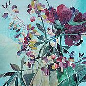 """Картины и панно ручной работы. Ярмарка Мастеров - ручная работа Картина  """"Пион и люпины"""". Handmade."""