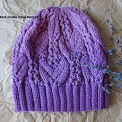 Аксессуары ручной работы. Ярмарка Мастеров - ручная работа Осенняя вязаная шапка с градиентом в сиренево-лиловой гамме. Handmade.