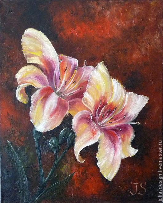 """Картины цветов ручной работы. Ярмарка Мастеров - ручная работа. Купить картина """"Лилии: Любовь и Страсть"""". Handmade. Лилии, красный"""