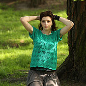 "Одежда handmade. Livemaster - original item Top, blouse cotton ""Green turquoise"". Handmade."