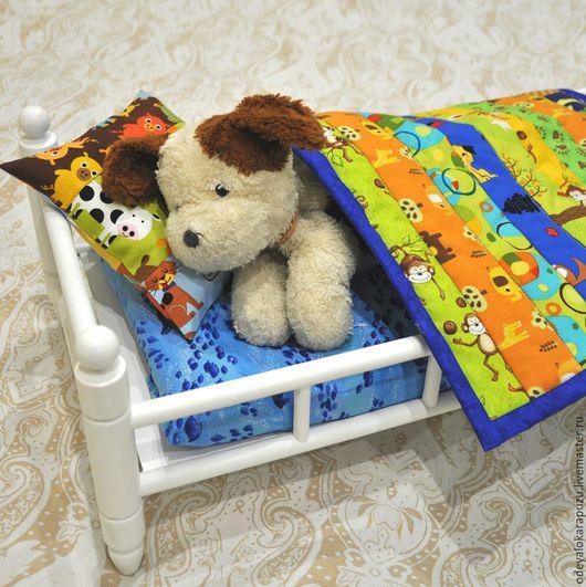 Кукольный дом ручной работы. Ярмарка Мастеров - ручная работа. Купить Лоскутное одеяло для куклы или мягкой игрушки. Постель для куклы. Handmade.