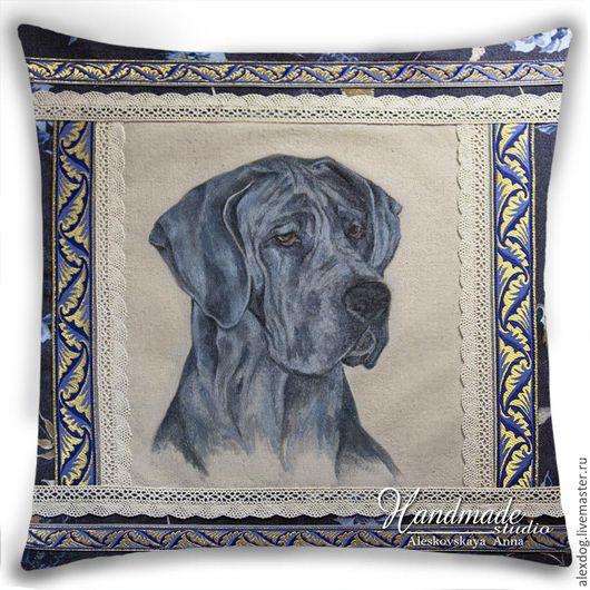 Портрет собаки по фото. Декоративная подушка - Дог голубой