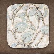 Картины ручной работы. Ярмарка Мастеров - ручная работа Лимонник (18,5х18,5см) Гипсовое ботаническое панно. Handmade.