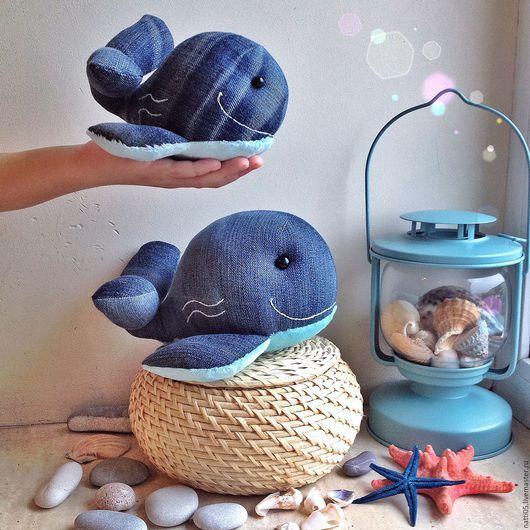 Джинсовые киты. Текстильные зверята ручной работы. Натти. Ярмарка мастеров.