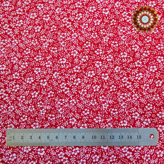 Ткань хлопок `Лапчатка красный`. Код товара: ZT-00026