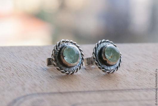 """Серьги ручной работы. Ярмарка Мастеров - ручная работа. Купить серьги """"Веретено"""", серебро, берилл. Handmade. Зеленый, серебро"""