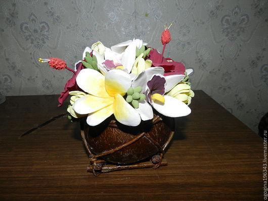 Интерьерные композиции ручной работы. Ярмарка Мастеров - ручная работа. Купить Тропические цветы в кокосе. Handmade. Кокос, тропические цветы