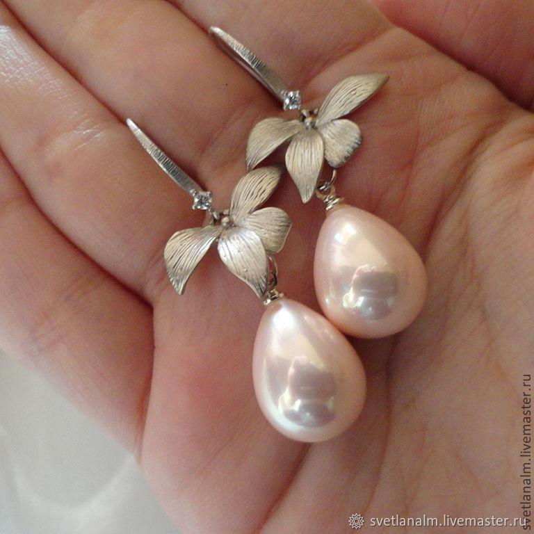 "Earrings with Majorica pearls ""Pink Pearl"", Earrings, Kiev,  Фото №1"