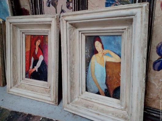 Репродукции ручной работы. Ярмарка Мастеров - ручная работа. Купить Картины 10х15 парные в деревянном багете Амедео Модильяни. Handmade.