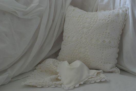 Текстиль, ковры ручной работы. Ярмарка Мастеров - ручная работа. Купить Вязанные подушки. Handmade. Молочный цвет, интерьерная подушка