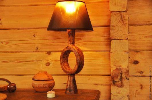 Освещение ручной работы. Ярмарка Мастеров - ручная работа. Купить настольная лампа. Handmade. Коричневый, красная глина