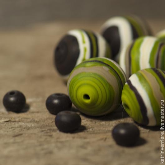 """Для украшений ручной работы. Ярмарка Мастеров - ручная работа. Купить Полые бохо-бусины """"Лесные"""". Handmade. Зеленый, древесный"""