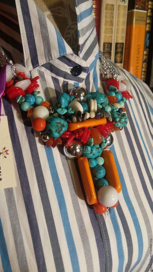 Колье, бусы ручной работы. Ярмарка Мастеров - ручная работа. Купить Колье из бусин и натуральных камней этно узор. Handmade.
